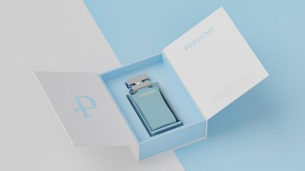 Макет белой упаковки синих духов для презентации фирменного стиля 3d визуализации