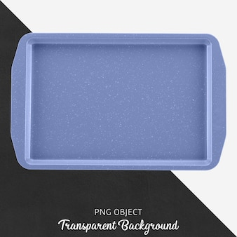 Blue rectangular oven container or tray on transparent background