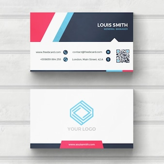 Blue, red, and white business card