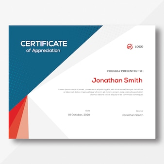 Blue & red certificate template