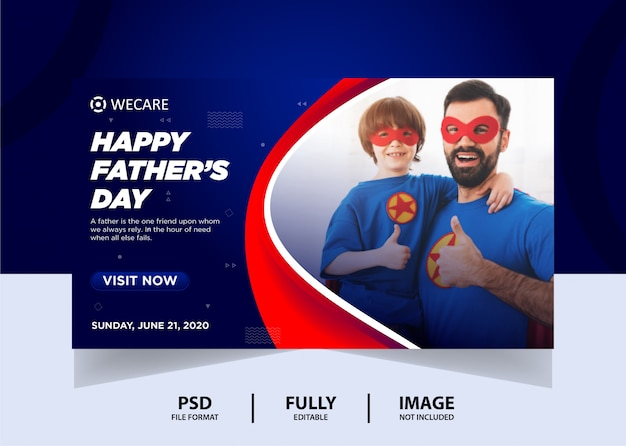 Blue red father's day web banner design