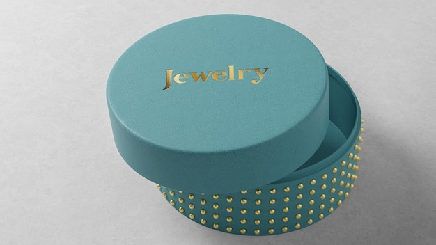 Blue round jewelry box logo mockup on table