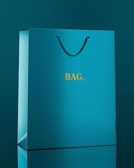 Blue shopping bag mockup in 3d rendering