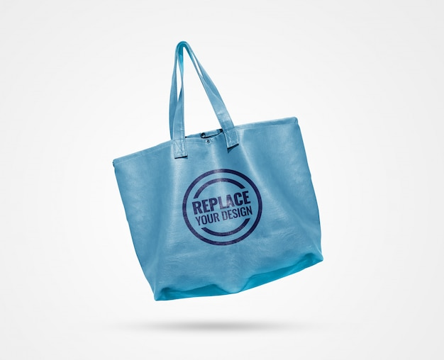 Blue sky leather tote bag mockup
