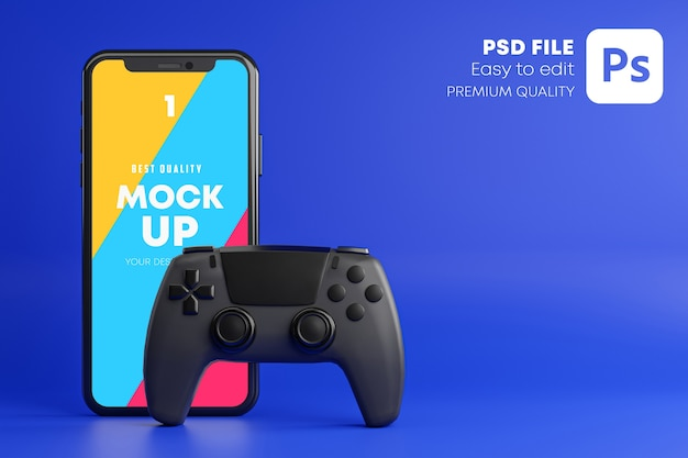 Blue smartphone mockup for gamepad