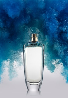 Blue smoke and perfume bottle mockup