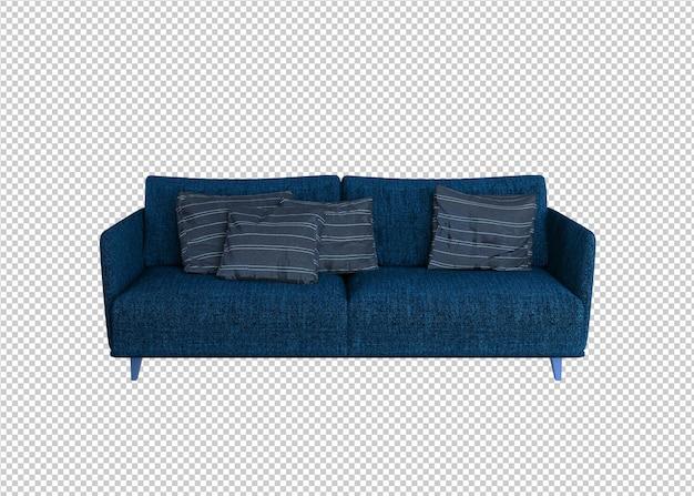 블루 소파와 베개