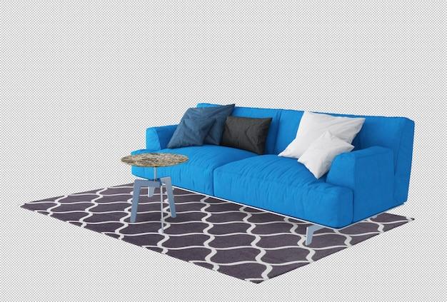 Голубой диван и подушки в 3d-рендеринг