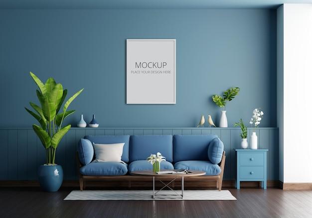 Синий диван в интерьере голубой гостиной с макетом рамы