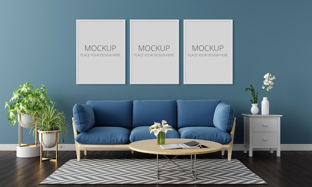 Blue sofa in living room interior with three frame mockup