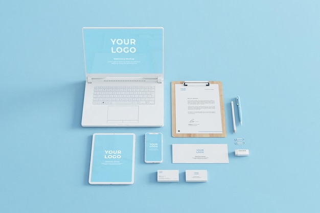 Blue stationery mockup business company