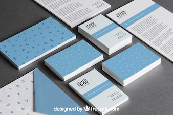 Blue stationery mockup