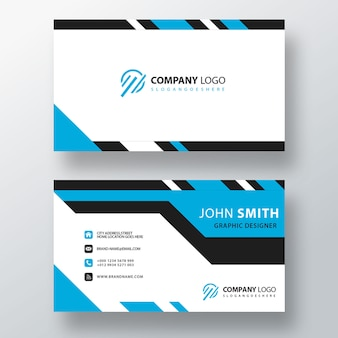Blue striped design visit card template