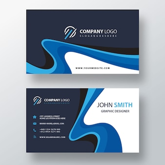 Blue swirl professional business card