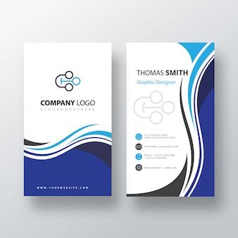 Вертикальная визитная карточка blue swirl