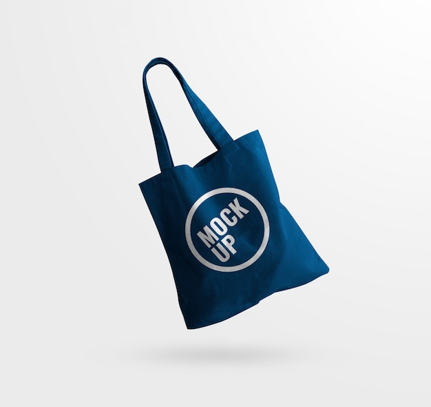 Blue tote bag canvas texture mockup