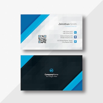 Blue triangles texture business card