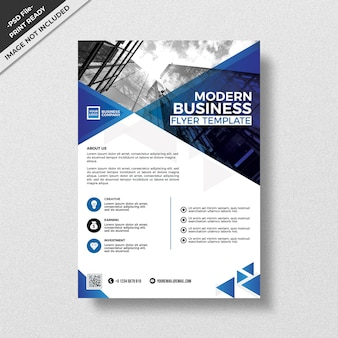 Blue triangular pattern style corporate flyer template