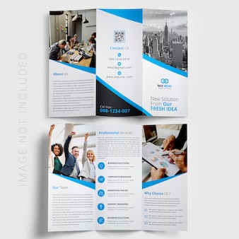 Blue trifold brochure