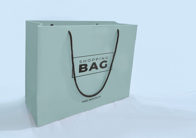 Blue turquoise shopping paper bag