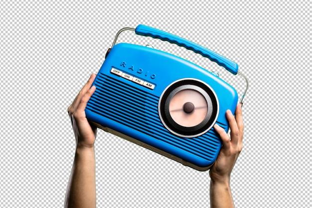 Blue vintage radio isolated