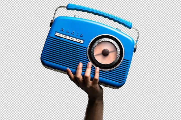 Blue vintage radio isolated