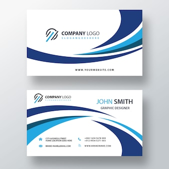 Blue visit card template