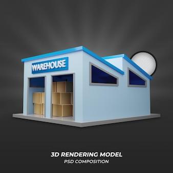 青い倉庫または倉庫3d