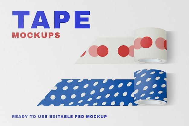 Blue washi tape mockup psd in cute polka dot pattern