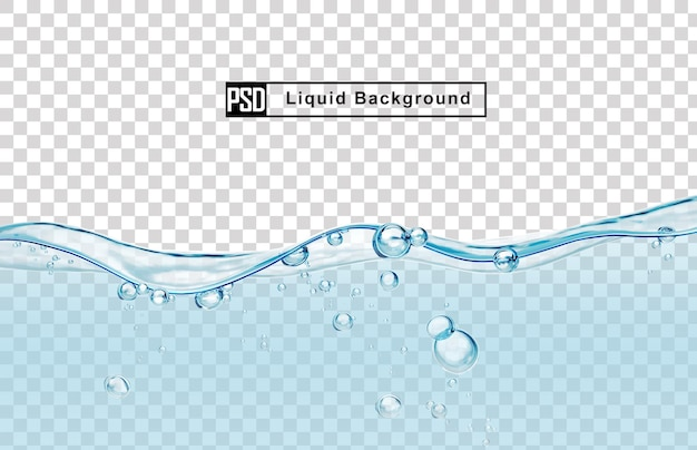 Blue water liquid background with bubble