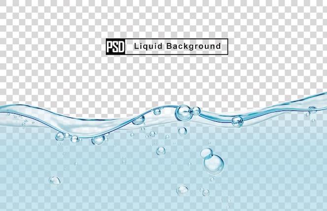 バブルと青い水の液体の背景