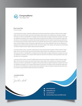Blue waves letterhead template design