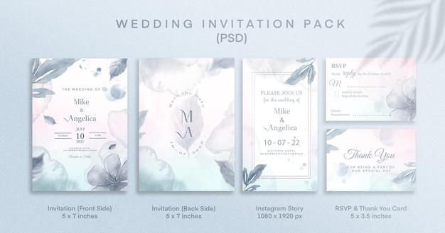 出欠確認とinstagramのストーリーが付いた青い結婚式の招待パック