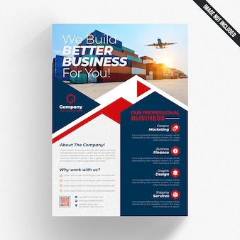 Blue and white business flyer with red details
