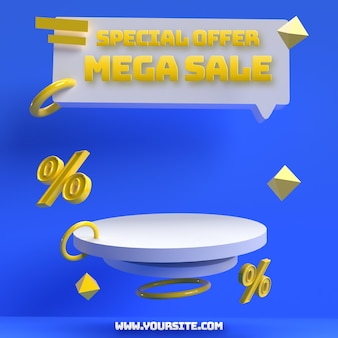 Blue yellow 3d editable podium for discount sale product advertising and brand identity