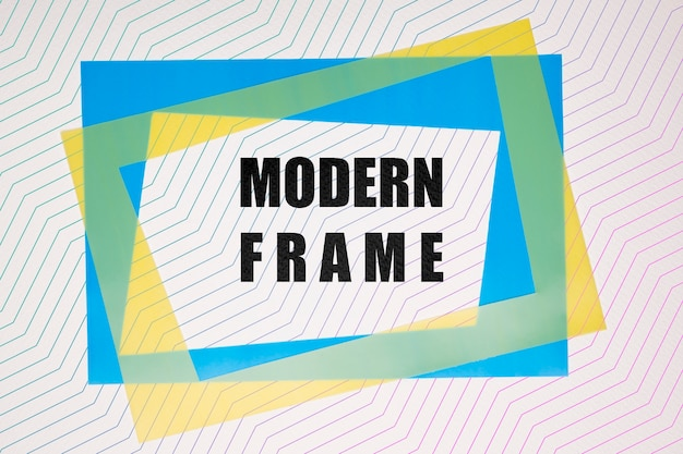 Blue and yellow modern frames mock-up