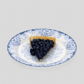 Blueberry cake 3d isolated render