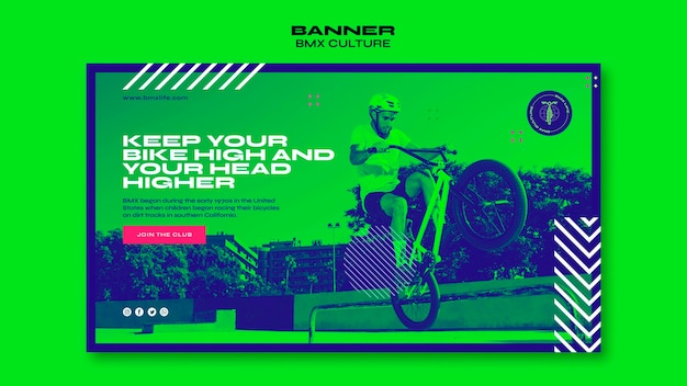 Bmx culture concept banner template