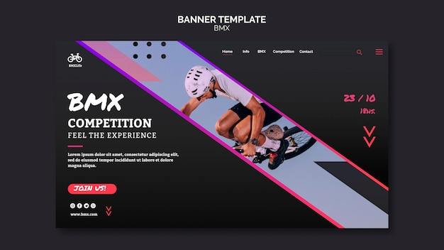 Bmx horizontal banner template design