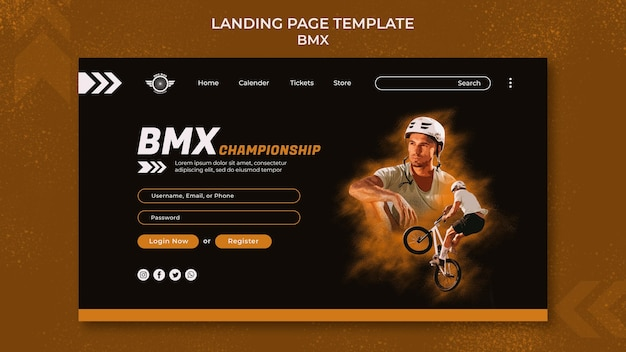 Bmx landing page template with photo