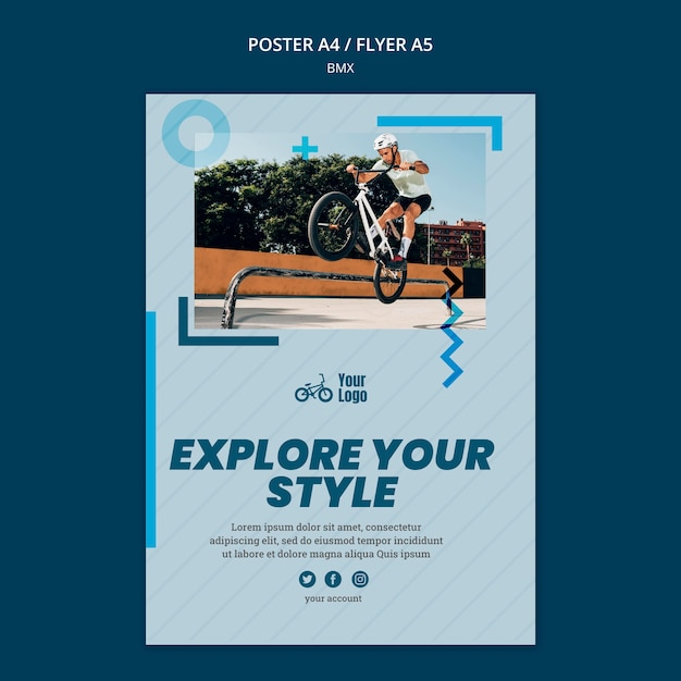 Bmx shop ad template poster