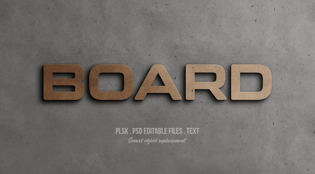 Board 3d text style effect mockup