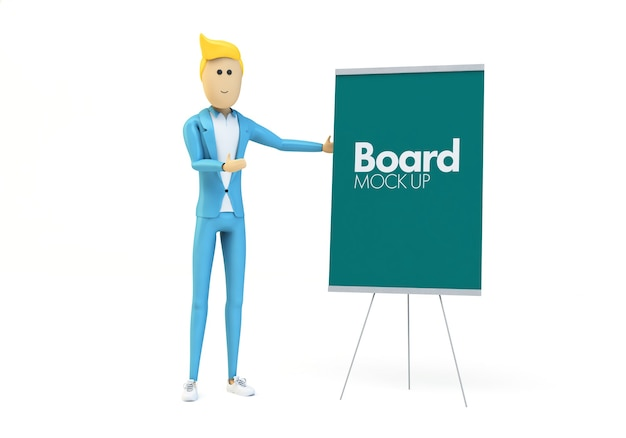 Board presentation with businessman character mock up