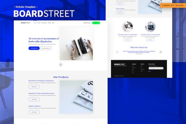 Board street website page design template