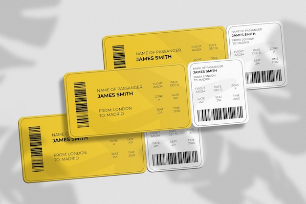 Boarding pass or ticket mockup with shadow overlay
