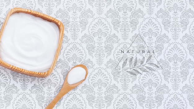 Body butter cream on plain background mock-up