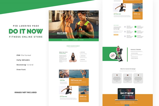 Body care landing page for gym training and fitness classes