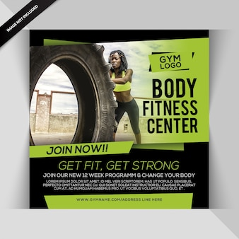 Body fitness instagram post or square flyer template
