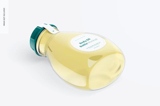 Макет бутылки с маслом для тела, изометрический вид