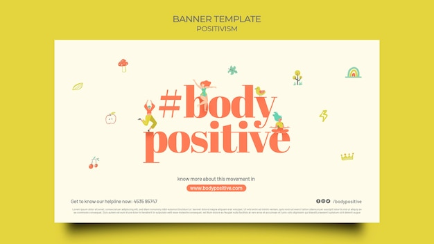 Тело позитивный горизонтальный баннер шаблон